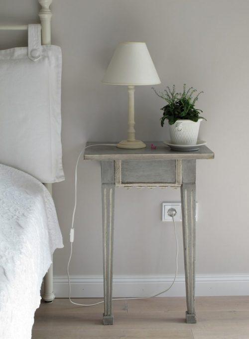 bedroom, side table, lamp